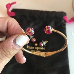 Kate Spade ♠️ Pink Hinged Bangle and Earrings Set